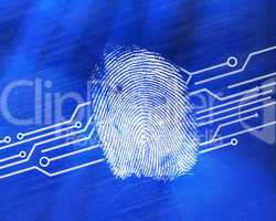 Fingerprint on digital blue background