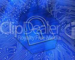 Lock graphic on blue background