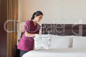 Hotel maid working