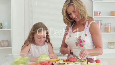 Mutter und Tochter in der Küche