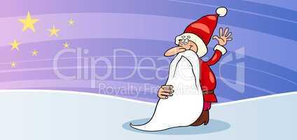 Santa Claus with star cartoon card