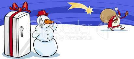 Santa Claus and snowman cartoon card