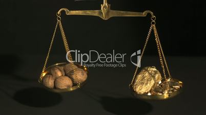 Weighing scales with gold and spices
