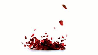 Heart confetti scattering