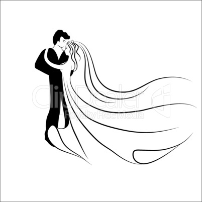 wedding logotype. man and woman silhouette in dance. love valentine background.