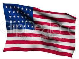 USA flag background, isolated on white