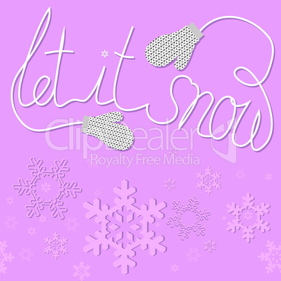 Christmas and New Year card with gift mittens. Vector illustration pattern with snowflakes. Winter background with concept of recreation and vacation. Abstract  ornament for print and web.
