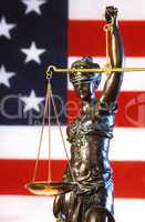 Justice Statue & American Flag