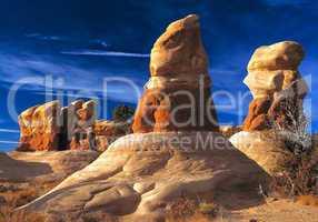 Sandstone Hoodoos in Utah Desert