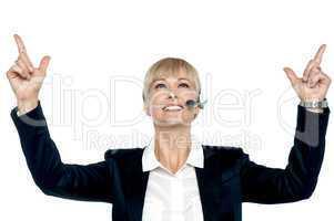Jubilant businesswoman celebrating her success