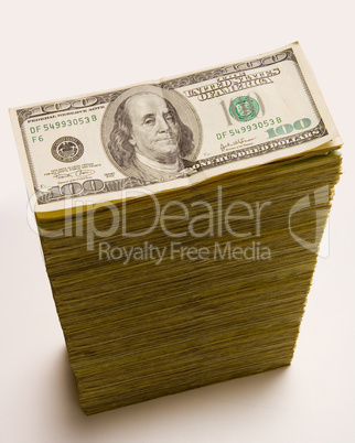 Cash stack of 100 dollar bills