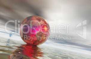Businessman approaching a globe
