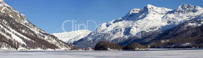 Frozen lake of Sils in Switzerland