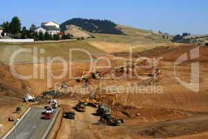 Earth moving at construction site