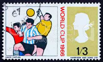 Postage stamp GB 1966 Goalkeeper and Two Soccer Players