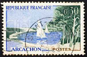 Postage stamp France 1961 Beach and Sailboats, Arcachon