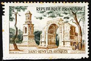 Postage stamp France 1957 Roman Ruins, Saint-Remy