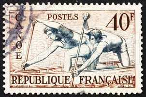Postage stamp France 1953 Canoe Racing