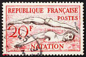Postage stamp France 1953 Swimming