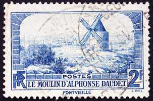 Postage stamp France 1936 Windmill at Fontvielle, Alphonse Daude