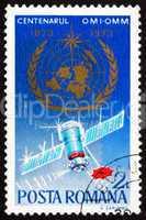 Postage stamp Romania 1973 WMO Emblem, Weather Satellite
