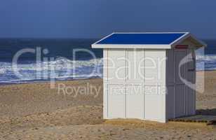 Strandhütte in Weiß an der Nordsee auf Sylt