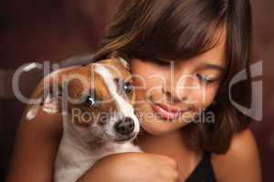 Pretty Hispanic Girl and Her Puppy Studio Portrait