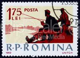 Postage stamp Romania 1962 Fishing Scene, Recreation