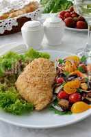 chicken fillet with vegetables in sesame