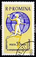 Postage stamp Romania 1962 Fieldball Player and Globe
