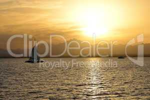 Sunset and yachts on Red Sea, Hurghada, Egypt