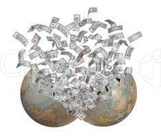 dollars flying out of burst earth