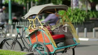 transportation with cyclo in indonesia