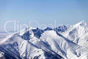 Snowy mountains. Caucasus Mountains, Georgia, ski resort Gudauri