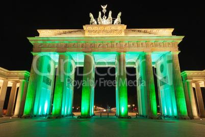 Brandenburger Tor (Brandenburg Gate) Panorama in Night, famous landmark in Berlin, Germany