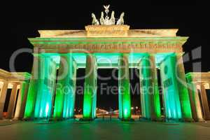 Brandenburger Tor (Brandenburg Gate) Panorama in Night, famous landmark in Berlin, Germany