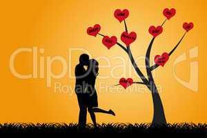 Küssendes Liebespärchen als Silhouette