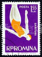 Postage stamp Romania 1963 Woman Diver