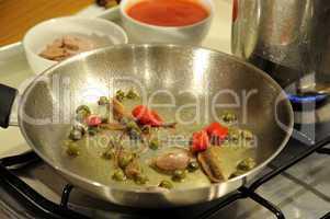 Puttanesca sauce for Spaghetti