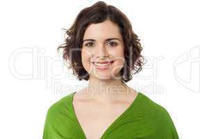 Pretty curly haired woman on white background