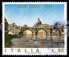 Postage stamp Italy 1975 Angels? Bridge, Rome, Vatican