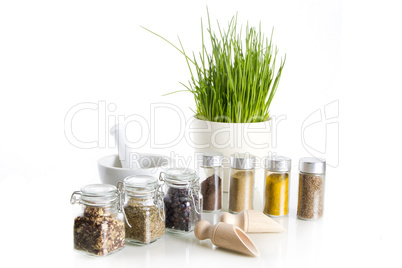 spices with chive and mortar