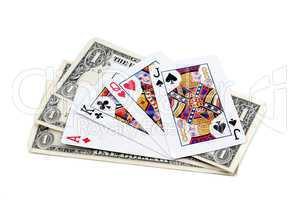 Three denominations on one dollar and playing cards