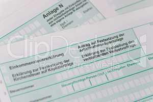 Steuerformular, Steuererklärung