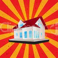 Retro style house graphic