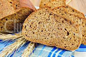 Rye bread on a napkin