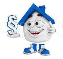 Kleines 3D Haus Blau - Paragraph Symbol