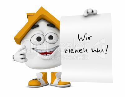 Hausbau clipart  Kleines 3D Haus Orange - Wir ziehen um!: Lizenzfreie Bilder und Fotos