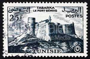 Postage stamp Tunisia 1954 Genoese Fort, Tabarka