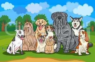 purebred dogs group cartoon illustration